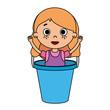 beautiful little girl in plastic bucket
