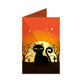 halloween card with black cat in cemetery scene