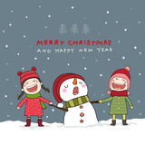 Christmas card with snowman and kids in Christmas snow scene.