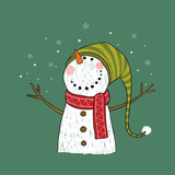 Hand drawn Christmas greeting card with snowman