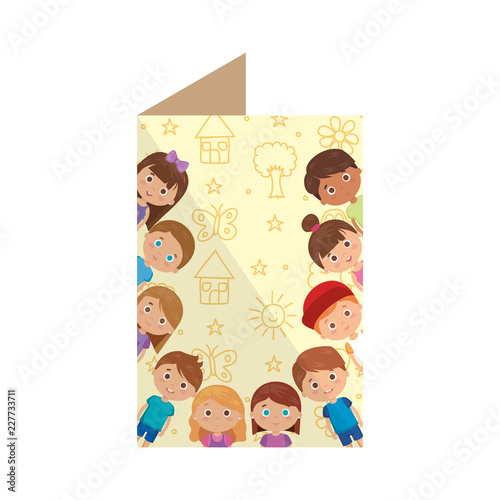 postcard with group of kids - 227733711