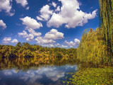 Beautiful autumn landscape with river and blue sky - 227735351