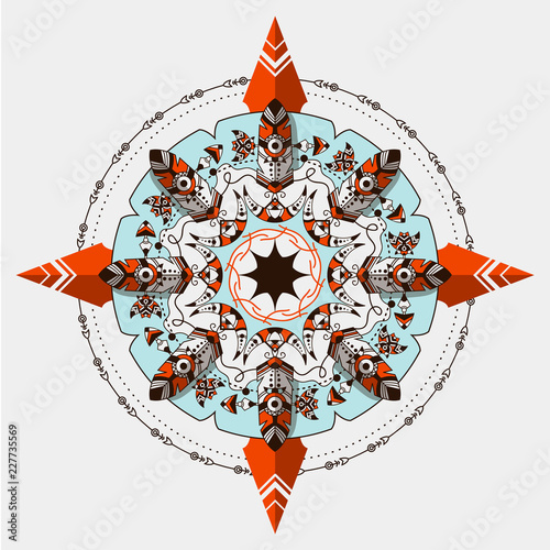 Bohemian Vector Compass Boho And Tribal Style Circle Ornament