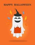 Happy halloween. Cute cartoon ghost. Trick or treat. Halloween illustration
