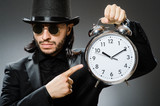 Vintage concept with man wearing black top hat - 227736974