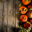 Leinwanddruck Bild - Autumn pumpkins background