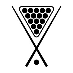 Pool, billiards or cue sports with racked balls and cue sticks flat vector icon for apps and websites