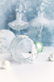 White Christmas Balls on wooden background.  Christmas background. Copy space. Close-up - 227742171