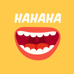 Laughing mouth. April Fools Day. Loud laugh and LOL vector yellow background