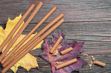 Rye bread sticks and autumn leaves