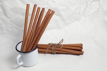 Rye breadsticks grissini in enameled cup