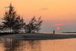 Quadro Tropical sunset over the horizon