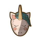 colorful thick contour of front face caricature unicorn with closed eyes and blue mane - 227753941