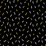 Doodle, hand drawn white and gold confetti, sprinkles on black, seamless pattern background for holiday design. - 227754326