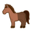 brown clear silhouette of cartoon horse standing