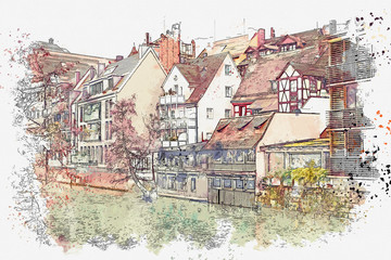A watercolor sketch or an illustration of traditional German architecture in Nuremberg in Germany. Residential buildings are located in a row along the river.