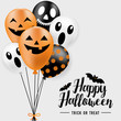Happy Halloween banner, party balloons, all objects are grouped.  - 227758380