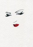 beautiful woman. fashion illustration. watercolor painting - 227759190