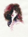 beautiful woman. fashion illustration. watercolor painting - 227759340
