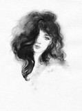 beautiful woman. fashion illustration. watercolor painting - 227759376