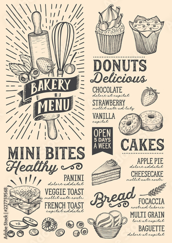 Sticker Bakery menu food template for restaurant with doodle hand-drawn graphic.