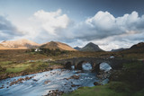 Sligachan Bridge and The Cuillins, Isle of Skye at sunset