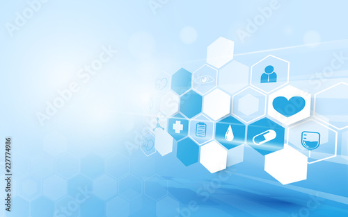 Sticker Abstract geometric modern background. Medicine and science concept background