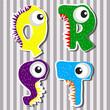 Set alphabets cute of simple color illustrations - 227775965