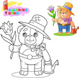 cartoon cute teddy bear gardener, with a flower in his hand, coloring book - 227776733