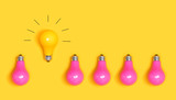 One outstanding idea concept with yellow and pink light bulbs - 227777732