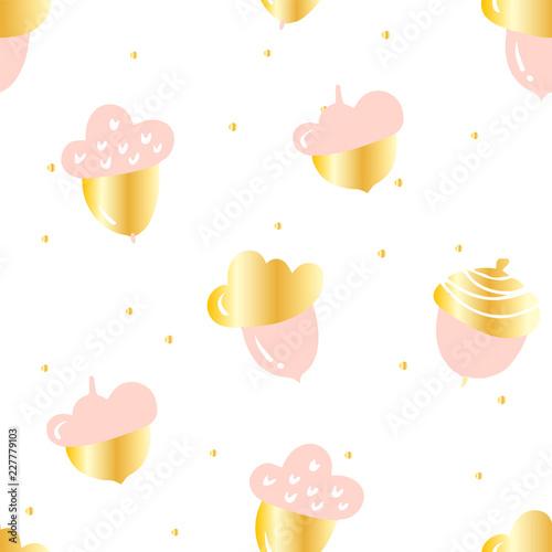 Jesień wzór z ślicznymi różowymi acorns i złotymi punktami na białym tle. Ozdoba na tekstylia i opakowanie. Wektor.