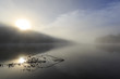 Morning fog over Lake Lajoie in Mont Tremblant Nationalpark in Quebec, Canada