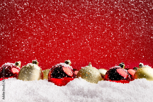 Sticker New Year background with christmas tree decorations