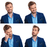 four faces of a young smart casual man - 227784590
