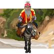 cartoon old man with a beard rides a donkey - 227787786