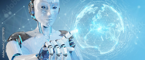 Leinwandbild Motiv White robot woman using digital sphere connection hologram 3D rendering