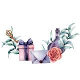 Watercolor birthday decor card with envelope, gift box and rose bouquet. Hand painted eucalyptus leaves, bottle, key isolated on white background. Holiday illustrations. - 227797519