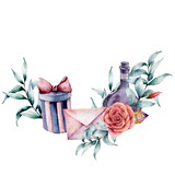 Watercolor birthday decor card with envelope, rose bouquet and gift box. Hand painted eucalyptus leaves, bottle, crystal isolated on white background. Holiday illustrations. - 227797538