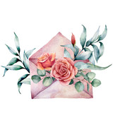 Watercolor birthday decor card with envelope and rose bouquet. Hand painted eucalyptus leaves isolated on white background. Holiday illustrations. - 227797569
