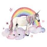 Watercolor fairy tale card witn unicorn, cloud and rainbow. Hand painted unicorn, colorful rainbow and stars isolated on white background. Fantasy illustration for design, print. - 227797592