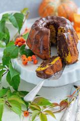 Homemade pumpkin marble cake.