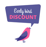 Early bird. Discount special offer, sale banner. Early birds vector concept. Promotion sale speech bubble notification illustration - 227806550