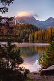 Shtrbske pleso (lake) in autumn. Slovakia High Tatras mountains landscape.