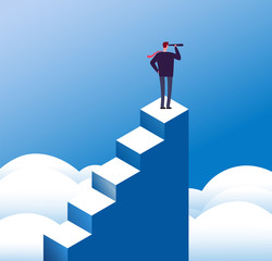 Business vision concept. Visionary man looks in telescope at steps top. Opportunity and leadership and purpose. Mission vector poster. Leadership vision telescope, visionary and growth illustration