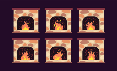 Fireplace animation. Home retro fireplaces with fire. Cartoon christmas and interior vector decoration. Fireplace interior decoration, animation bright burning illustration
