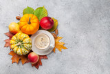 Autumn backdrop with pumpkins and fruits - 227812317