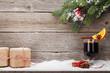 Leinwandbild Motiv Christmas card with mulled wine and gifts