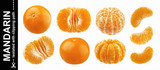 Mandarine, tangerine, clementine isolated on white background. Collection
