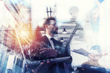 Business people work together in office with a laptop. Concept of teamwork and partnership. double exposure - 227825732
