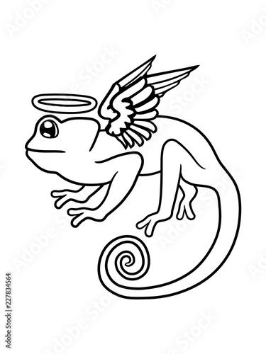kameleon zmarł niebo zmarły śmierć skrzydło anioła latający pogrzeb żałoba miłość iguana jaszczurka gad pet dinozaur waran ładny kreskówka mało kreskówka